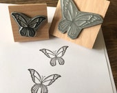 """BUTTERFLY 2"""" 3"""" wooden stamper Catherine Redgate stamp stationery large wrapping stationery letter craft pretty insect wildlife nature girly"""