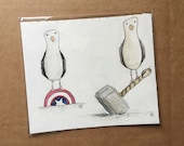ORIGINAL Super Hero Seagulls watercolour illustration art - by Catherine Redgate - geek - film - BARGAIN