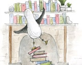 BOOK LOVER seagull card - illustration illustrated Greeting Card - blank inside- by Catherine Redgate - university study journey