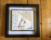 Raining Fish - FRAMED ORIGINAL watercolour illustration- by Catherine Redgate