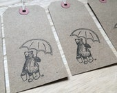 RAINING BEAR umbrella - hand-stamped gift tags- by Catherine Redgate