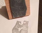 "New Baby Bear family - 2"" wooden rubber stamper- by Catherine Redgate"