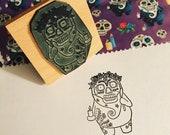"Day of the Dead spirit wooden rubber stamper 2""Catherine Redgate stamping scrapbooking craft crafting SKULL rose mask festival stamp sugar"