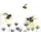 Painted BUSY BEES - Greeting Illustration Art Card - blank inside- by Catherine Redgate