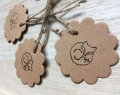 SLEEPING FOX circular hand-stamped gift tags- by Catherine Redgate