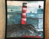 LIGHTHOUSE Rock Painting - FABRIC PATCH - 9cm square- by Catherine Redgate