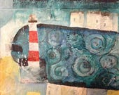 Light of the Harbour - Arty Lighthouse Greeting Card - blank inside- by Catherine Redgate