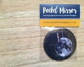 Lighthouse Moon POCKET MIRROR arty illustrated gift- by Catherine Redgate