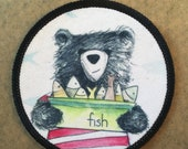 Bear & Fish - FABRIC PATCH - 9cm diameter- by Catherine Redgate
