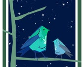 Night Birds illustration fridge magnet  50mm x 50mm- by Catherine Redgate