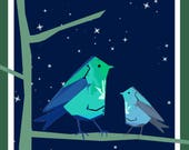 Night Birds Greeting Card - blank inside- by Catherine Redgate