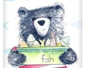 Bear & Fish illustration fridge magnet  50mm x 50mm- by Catherine Redgate