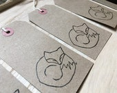 SLEEPING FOX woodland hand-stamped gift tags- by Catherine Redgate