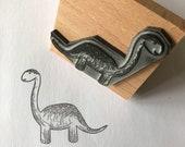 "Friendly DINOSAUR - 2"" wooden rubber stamper Catherine Redgate - Scotland Scottish bujo craft cute brontosaurus tall boy male card teacher"