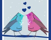 Blue Love Heart Birds Greeting Card - blank inside- by Catherine Redgate