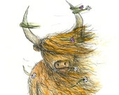 Heelan Coo POCKET MIRROR gift- by Catherine Redgate - Highland Cow Scottish illustration drawing