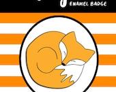SLEEPING FOX hard enamel pin badge - by Catherine Redgate - me time sleepy cosy comfort winter woodland dog orange
