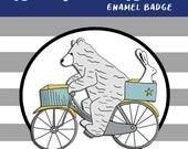 BEAR on a BIKE hard enamel pin badge - by Catherine Redgate - Scottish  mental health encouragement saying slogan journey support adventure