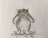 "SPRING BUNNY - 2"" wooden rubber stamper Catherine Redgate - Scotland Scottish pet rabbit teacher learn cute bun stamp positive happy flower"