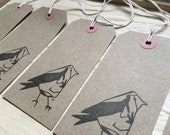 GARDEN BIRD hand-stamped gift tags- by Catherine Redgate