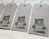 BEAR and FISH - hand-stamped gift tags- by Catherine Redgate