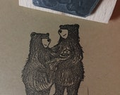 "New Baby Bear family - 2"" or 3"" wooden rubber stamper- by Catherine Redgate - congratulations craft scrapbooking"