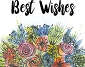 Best Wishes floral bouquet Greeting Illustration Art Card - blank inside- by Catherine Redgate