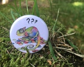 Confused chameleon - 32mm button badge - lizard - reptile- by Catherine Redgate