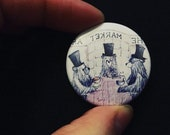 Market Arms Soup Sandwich gentleman bears - 38mm button badge - pin - quirky - by Catherine Redgate