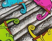 CHAMELEON 4 colours hard enamel pin badge - by Catherine Redgate - Scottish lizard reptile pet social emo retro