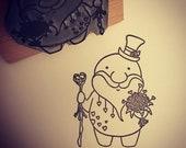 "VALENTINE LOVE SPIRIT wooden rubber stamper 2"" stamp Catherine Redgate stamping bouquet craft love couple top hat gentleman gentry rose posh"