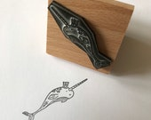 """King NARWHAL 2"""" 3"""" wooden stamper Catherine Redgate stamp stationery large wrapping stationery letter craft ocean bujo star whale fish sea"""
