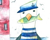 Captain Seagull Greeting Card - blank inside- by Catherine Redgate