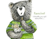 Exercise Bear Extra Fries POCKET MIRROR gift- by Catherine Redgate - exercise gym fat fast food motivation humour funny