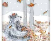 Forest Bear - SNOW -  fridge magnet  50mm x 50mm- by Catherine Redgate