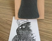 "XMAS HEELAN COO 2"" or 3"" wooden rubber stamper- by Catherine Redgate - Scotland - Scottish - Highland Cow - hairy - Christmas hat bobble"
