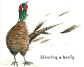 Windswept Pheasant 'Blowing a Hooly' Greeting Card - blank inside- by Catherine Redgate - Scottish countryside country windy funny