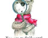 You are Magnifycent Bear - Greeting Illustration Art Card - blank inside by Catherine Redgate message awesome Sherlock graduate magnificent