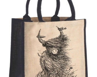 Heelan Coo JUCO BAG - Highland Cow Scottish illustration- by Catherine Redgate - canvas tote shopping jute cotton