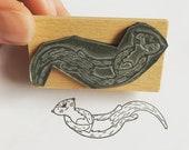 "Swimming Otter 2"" wooden rubber stamper Catherine Redgate - Scotland Scottish river love otterly heart illustration cute animal stamp craft"