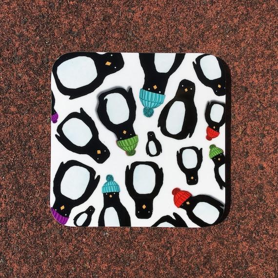 Penguin Parade fridge magnet  50mm x 50mm by Catherine Redgate