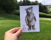 Chewbacca Bear & Porg postcard - by Catherine Redgate - Star Wars chewbacca porgue seagull comic con geek nerd fun humour