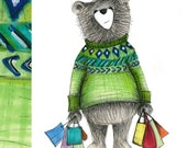Shopping Bear card - illustration illustrated Greeting Card blank inside- by Catherine Redgate day out shop bags addict fun funny birthday