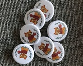 Woodland Fox 32mm button badge Catherine Redgate retro pin metal illustrated positivity adventure happy cute leafy leaf forest happy glasses