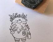 "GARDEN SPIRIT - wooden rubber stamper - 2""by Catherine Redgate sprite leaf leaves wood gnome stamping scrapbooking craft gardener vegetable"