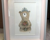 FLOWER bouquet BEAR original framed illustration Catherine Redgate art drawing watercolour mother's day painting teddy draw floral sympathy