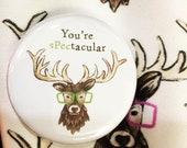 SPECTACULAR STAG 32mm button pin badge Catherine Redgate deer illustration scottish antler positive positivity gift cute stocking filler