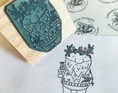 """CHRISTMAS SPIRIT wooden rubber stamper 2"""" Catherine Redgate stamping scrapbooking craft xmas bough pine crafting diy bauble present 3"""""""
