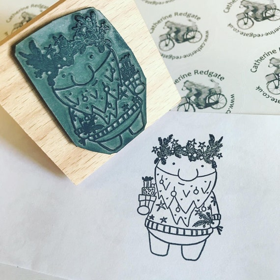 2 or 3 CHRISTMAS JUMPER BEAR rubber stamper by Catherine Redgate Xmas crafting stamp cute parcel gift bujo wrapping paper stationery