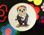 DAY of the DEAD SPIRIT 32mm button pin badge Catherine Redgate guardian whimsical quirky art gnome nature beard mexican festival sugar skull